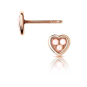 Open Heart Ασημένια Σκουλαρίκια με ροζ επιχρύσωση 18 καρατίων και ροζ οπάλιο-