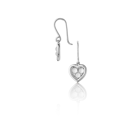 Open Heart Ασημένια Σκουλαρίκια με Moonstones και διαμάντια-