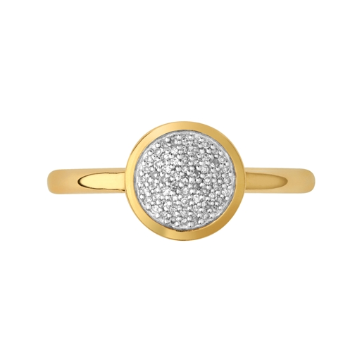 Diamond Essentials Ασημένιο στρογγυλό δαχτυλίδι με επιχρύσωση 18 καρατίων και διαμάντια-