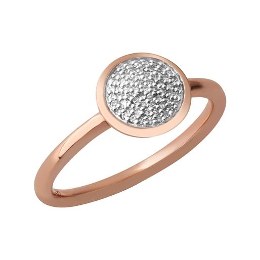 Diamond Essentials Ασημένιο στρογγυλό δαχτυλίδι με ροζ επιχρύσωση 18 καρατίων και διαμάντια-