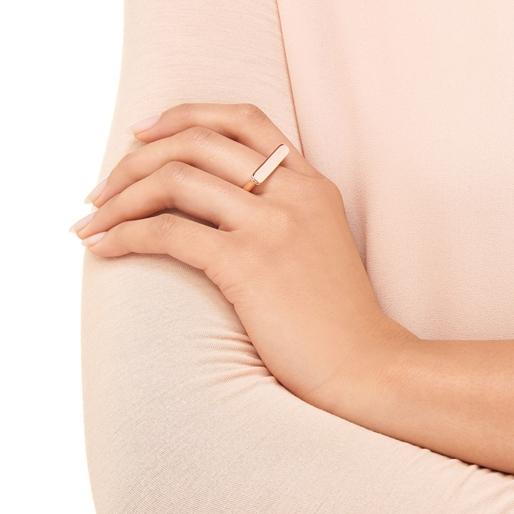Narrative Ασημένιο Δαχτυλίδι με ροζ επιχρύσωση 18 καρατίων-
