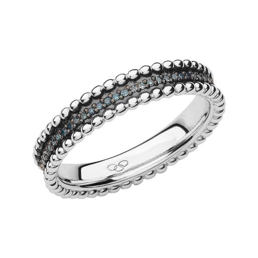 Effervescence Ασημένιο Band δαχτυλίδι με μπλε διαμάντια-
