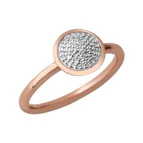 Diamond Essentials Ασημένιο στρογγυλό δαχτυλίδι με ροζ επιχρύσωση και διαμάντια-