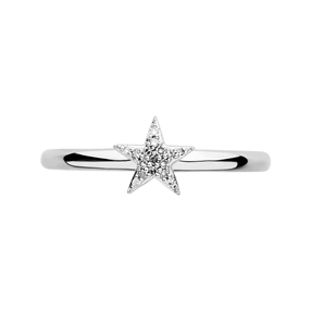 Diamond Essentials Sterling Silver & White Pave Star Ring-