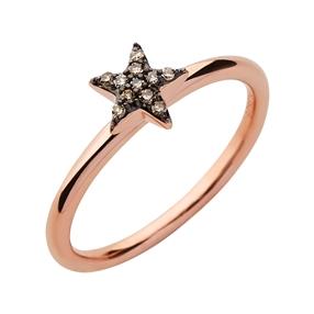 Diamond Essentials Ασημένιο δαχτυλίδι με ροζ επιχρύσωση και διαμάντια-