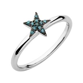 Diamond Essentials Ασημένιο δαχτυλίδι με μπλε διαμάντια-