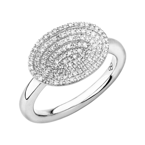 Concave Sterling Silver & Diamond Ring-