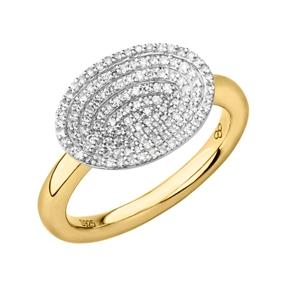 Concave Ασημένιο Δαχτυλίδι με επιχρύσωση 18 καρατίων και διαμάντια-