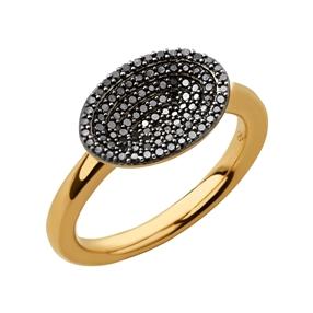 Concave Ασημένιο Δαχτυλίδι με επιχρύσωση 18 καρατίων και μαύρα διαμάντια-
