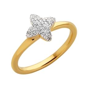 Splendour Ασημένιο Δαχτυλίδι με επιχρύσωση 18 καρατίων και διαμάντια-