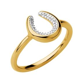 Ascot Ασημένιο δαχτυλίδι με επιχρύσωση 18 καρατίων και διαμάντια-
