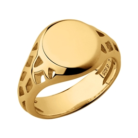 Timeless 18kt Yellow Gold Vermeil Signet Ring-