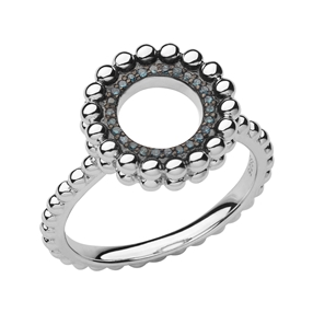 Effervescence Ασημένιο Δαχτυλίδι με μπλέ διαμάντια-