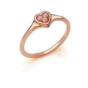 Open Heart Δαχτυλίδι από ασήμι με ροζ επιχρύσωση 18 καρατίων και ροζ οπάλιο-