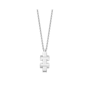 Brutalist sterling silver block-pendant necklace-
