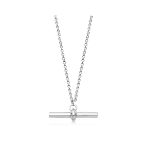 Brutalist sterling silver bar-pendant necklace-