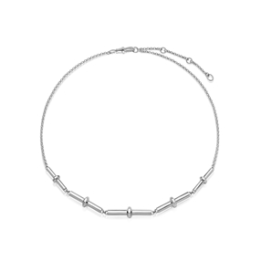 Brutalist sterling silver multi-bar necklace-