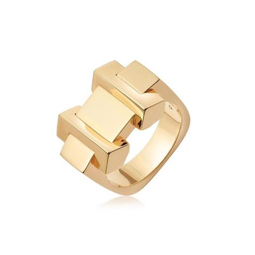 Brutalist Block ασημένιο δαχτυλίδι με επιχρύσωση 18 καρατίων-