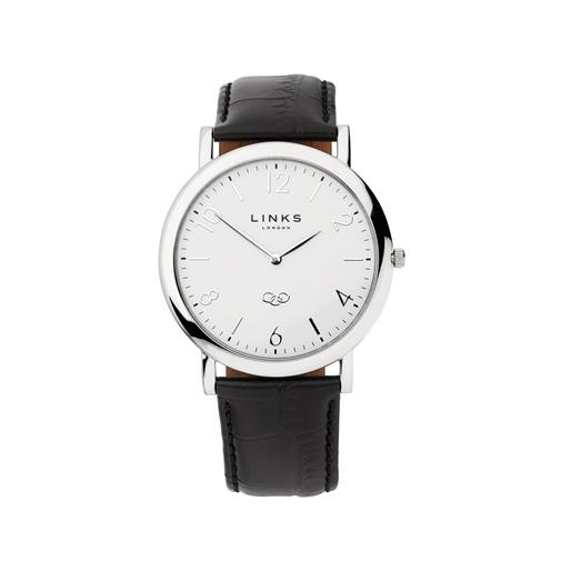 Noble Slim Mens Stainless Steel & Black Leather Watch-