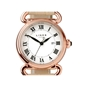 Driver στρογγυλό ρολόι με ροζ επιχρύσωση και μπεζ δερμάτινο λουράκι-