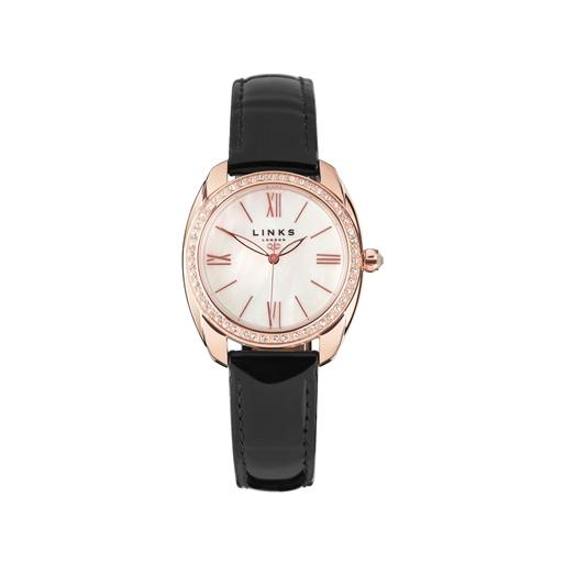 Bloomsbury Γυναικείο ρολόι με ροζ επιχρύσωση, μαύρο δερμάτινο λουράκι και κρυστάλους-