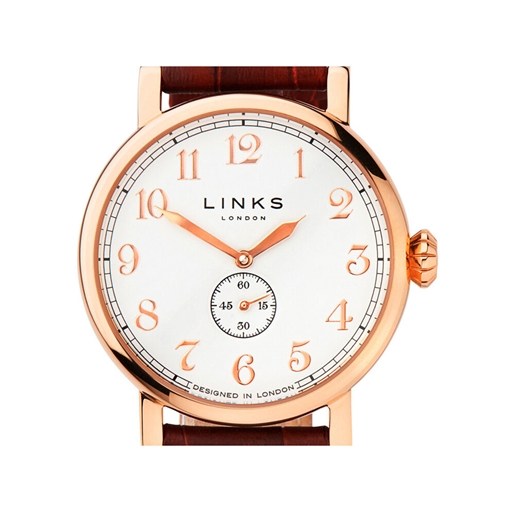 Greenwich Womens Rose Gold Plate & Red Leather Watch-