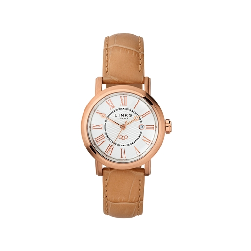 Richmond Womens Rose Gold Plate & Beige Leather Watch-