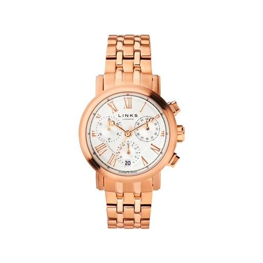 Richmond Womens Rose Gold Plate Bracelet Chronograph Watch-