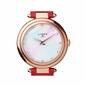 Timeless Ρολόι από ατσάλι με ροζ επιχρύσωση 18 καρατίων, καντράν από φίλντισι και γκρι δερμάτινο λουράκι-