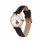 Noble Womens Rose Gold Plate & Brown Leather Watch-