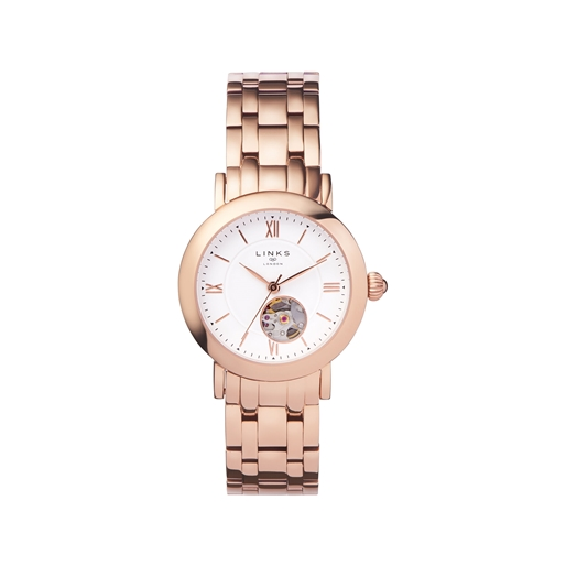 Noble Womens Rose Gold Plate Bracelet Watch-