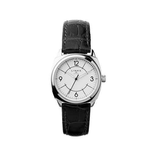 Brompton Womens Stainless Steel & Black Leather Watch-