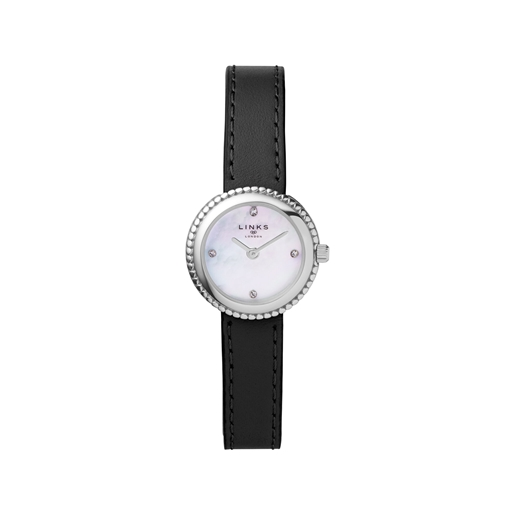 Effervescence Black Leather & Mother Of Pearl Watch-