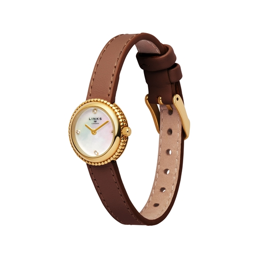Effervescence Brown Leather & Mother Of Pearl Watch-