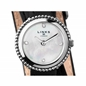 Effervescence Black Leather & Mother Of Pearl Double Strap Watch-