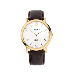 Noble Slim Mens Yellow Gold Plate & Brown Leather Watch-