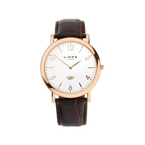 Noble Slim Mens Rose Gold Plate & Brown Leather Watch-