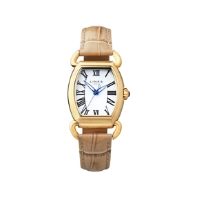 Driver Elipse Womens Yellow Gold Plate Tan Leather Watch-
