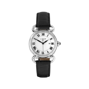 Driver Womens Round Stainless Steel Black Leather Watch-