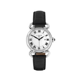 Driver στρογγυλό ρολόι από ατσάλι με μαύρο δερμάτινο λουράκι-