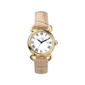 Driver Round Womens Gold Plate Tan Leather Watch-