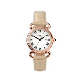 Driver Round Womens Rose Gold Plate Tan Leather Watch-