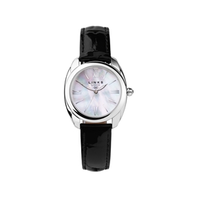 Bloomsbury Womens Stainless Steel & Black Leather Watch-