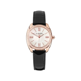 Bloomsbury Womens Oval Rose Gold Plate, Black Leather & Crystal Watch-