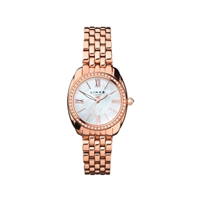 Bloomsbury Womens Oval Rose Gold Plate & Crystal Bracelet Watch-