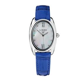 Bloomsbury Γυναικείο Ατσάλινο ρολόι με μπλε δερμάτινο λουράκι-