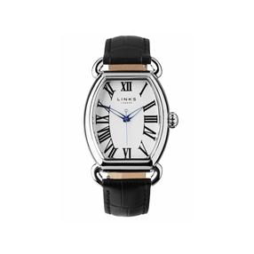 Driver Ellipse ρολόι από ατσάλι με μαύρο δερμάτινο λουράκι-