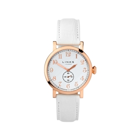 Greenwich Womens Rose Gold Plate & White Leather Watch-