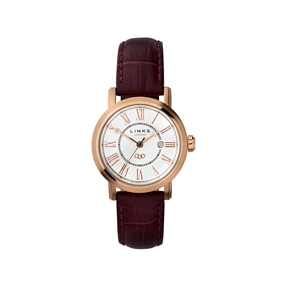 Richmond Womens Rose Gold Plate & Brown Leather Watch-