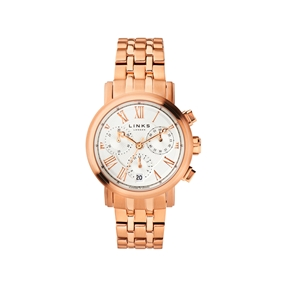 Richmond Womens Rose Gold Plate Bracelet Chronograph Watch-